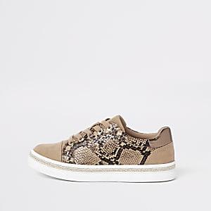 Bruine vetersneakers met slangenprint