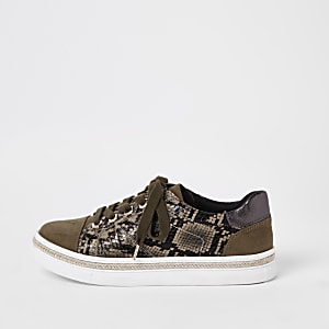 Kaki vetersneakers met slangenprint