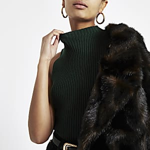 Dark green ribbed high neck top