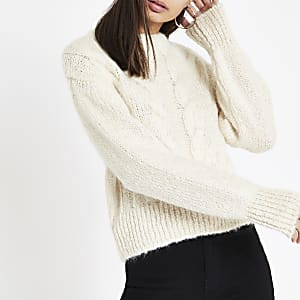 Cream cable knit crew neck sweater