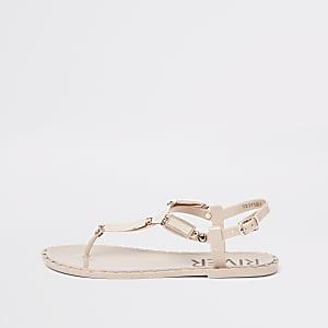 Roze jelly sandalen met studs
