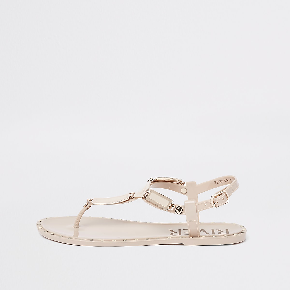 Pink studded jelly sandals