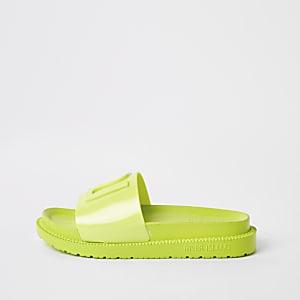Neongrüne Gummi-Slipper