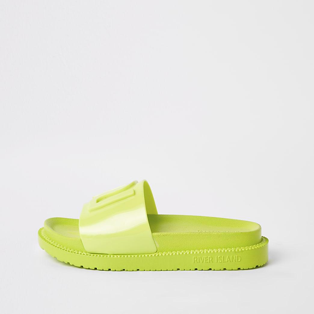 Neongroene jelly slippers met RI-logo