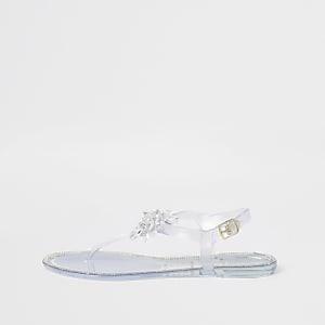 Sandales en plastique blanches à fleurs