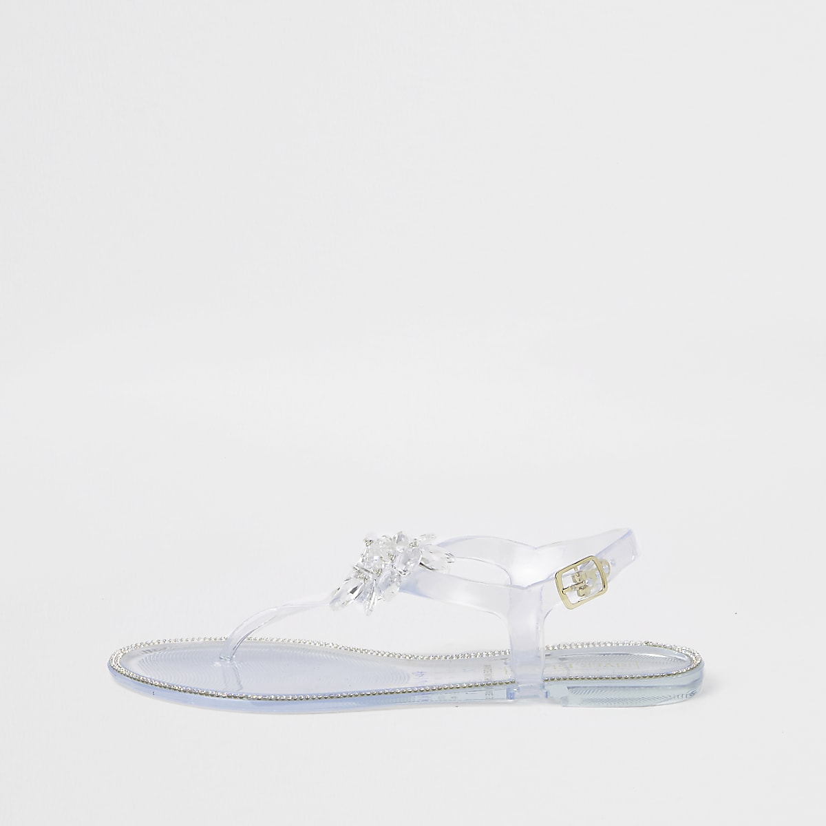 White flower jelly sandals