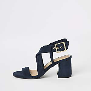 Navy cross strap block heel sandals