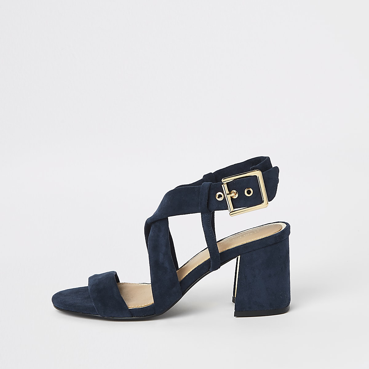 a1b7a21cf24 Navy cross strap block heel sandals - Sandals - Shoes   Boots - women
