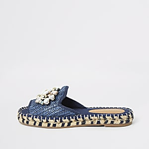 Marineblauwe espadrille-sandalen met siersteentjes