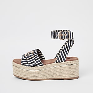 3bc3ff8a75b Navy stripe flatform sandals