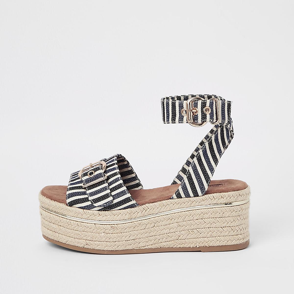 Navy stripe flatform sandals