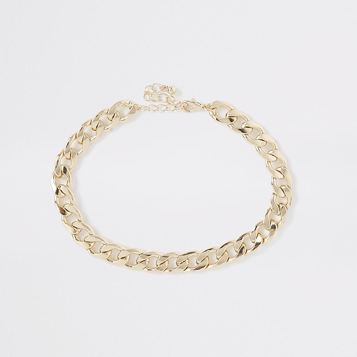 Gold colour chunky curb chain choker