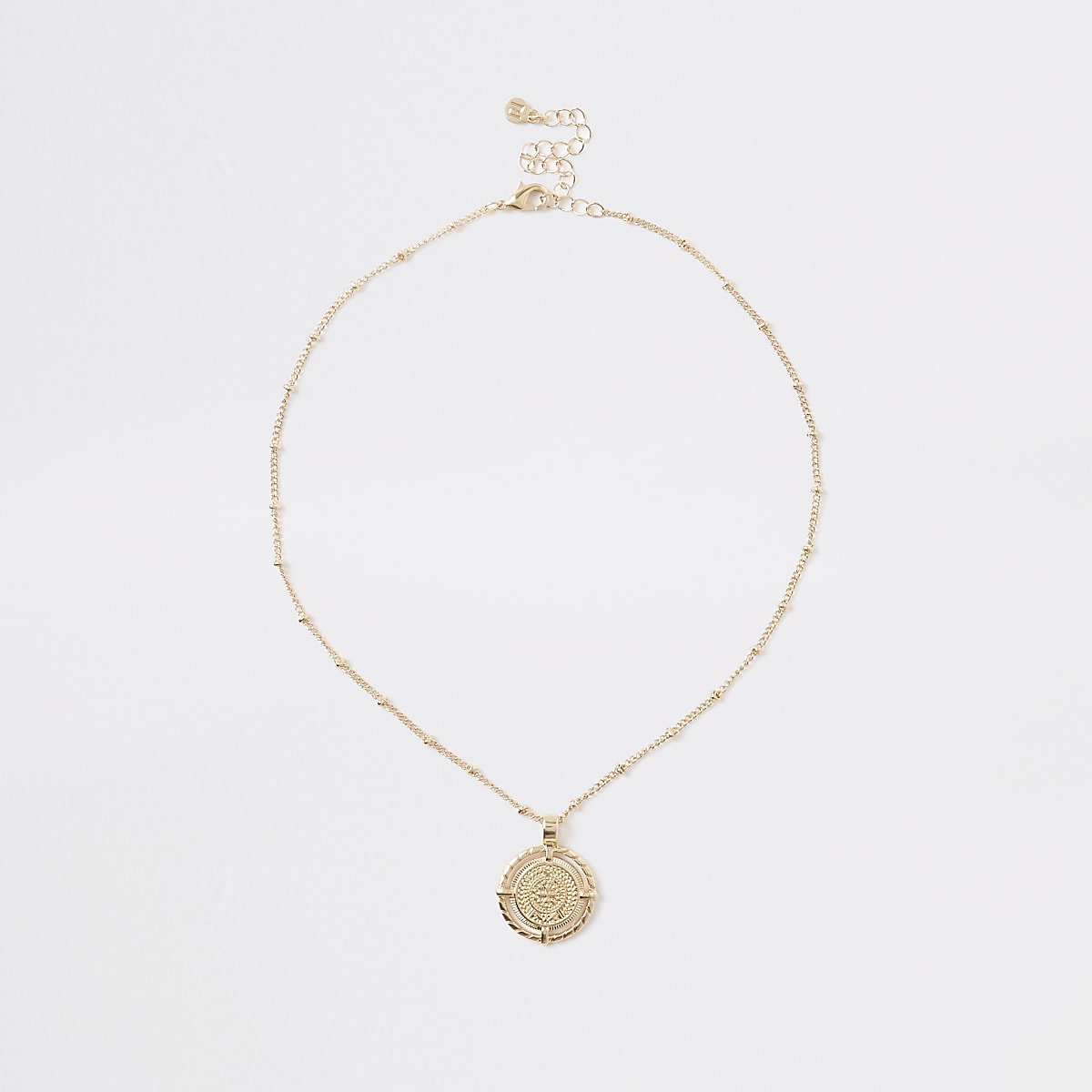 Gold colour medallion pendant necklace