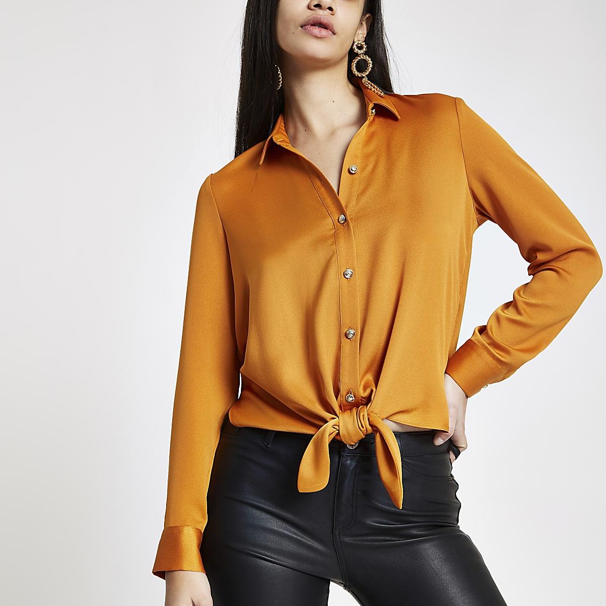 Orange tie front shirt