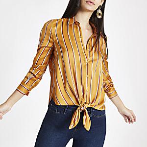 Yellow stripe tie front shirt