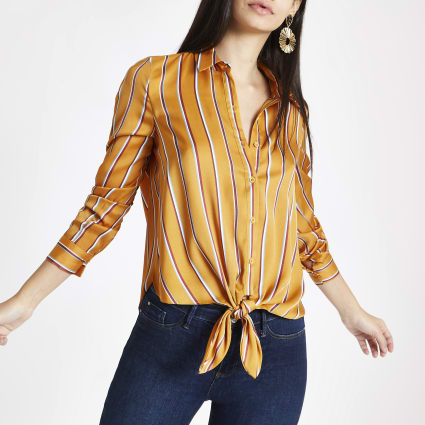 Yellow stripe tie front shirt