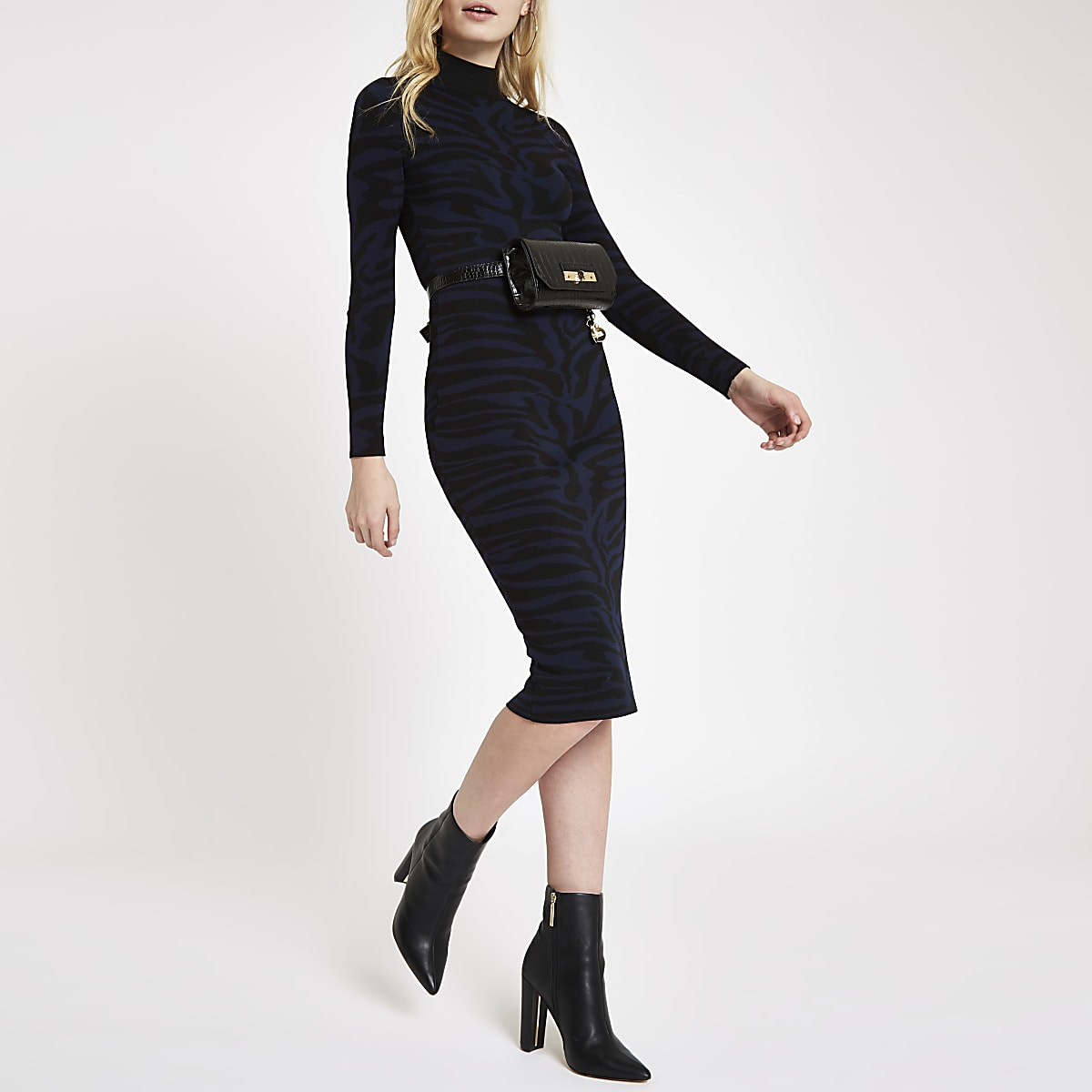 Hoogsluitende marineblauwe bodyconmidi-jurk met zebraprint