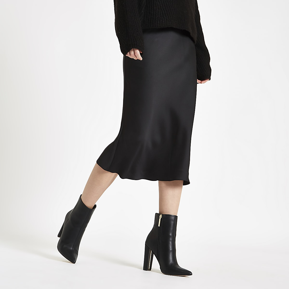 3c7586624d Black bias cut midi skirt - Midi Skirts - Skirts - women
