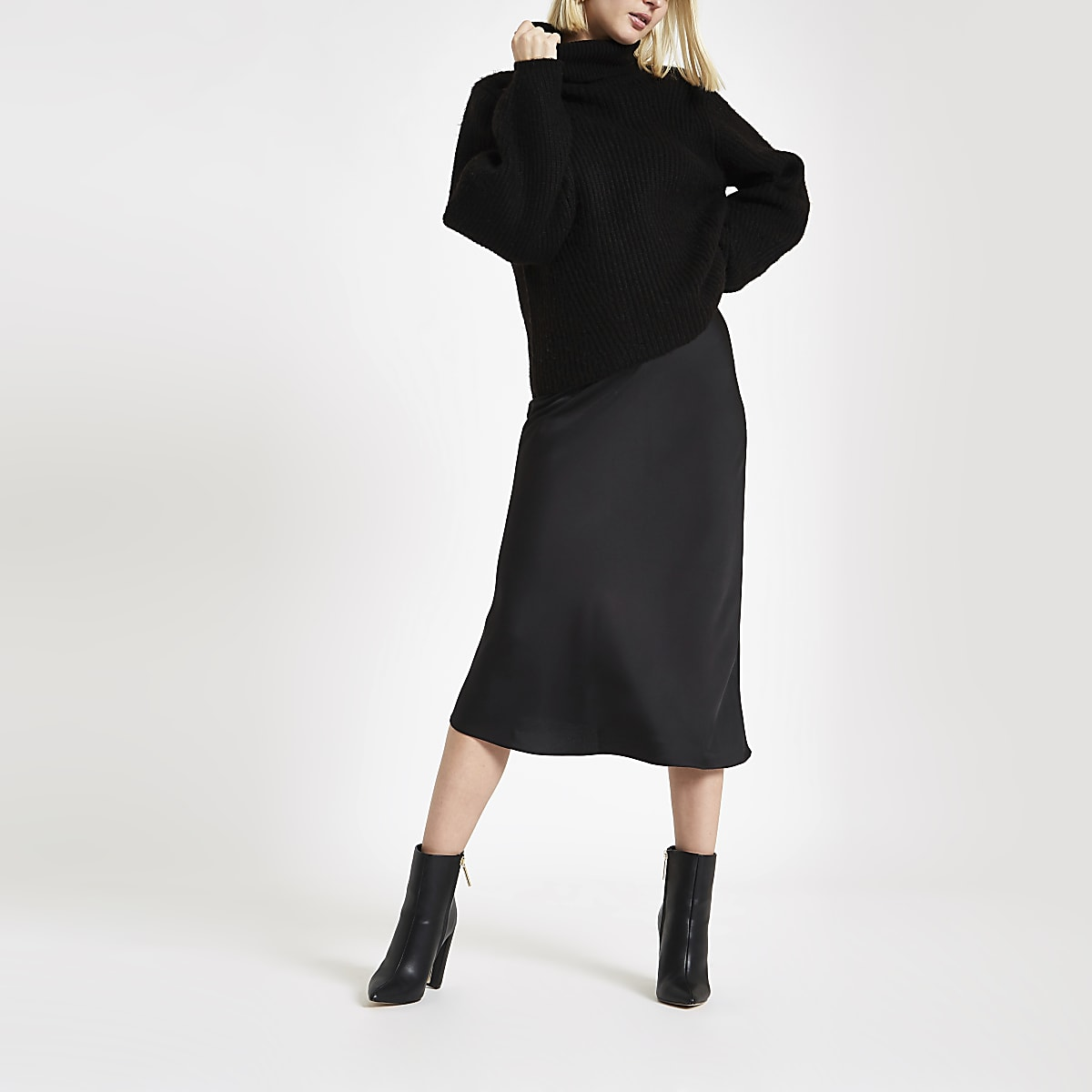 Black bias cut midi skirt