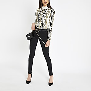 Cream chain print turtle neck top