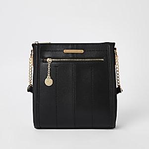 Black zip front messenger bag