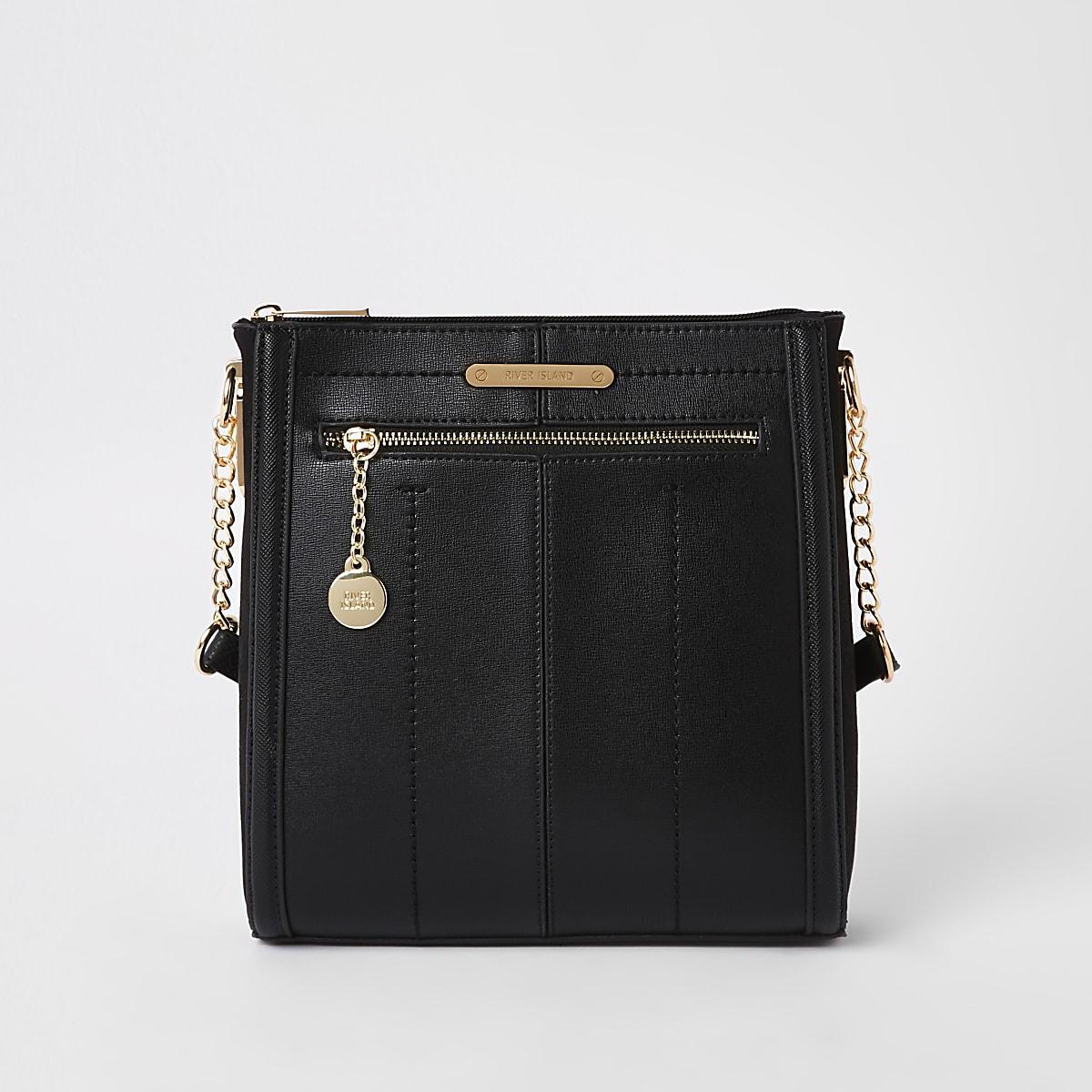 Zwarte messenger-tas met rits aan de voorkant