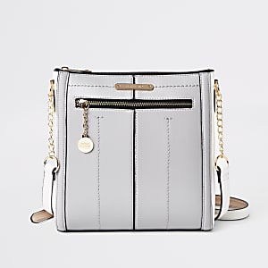 Grey zip front cross body bag