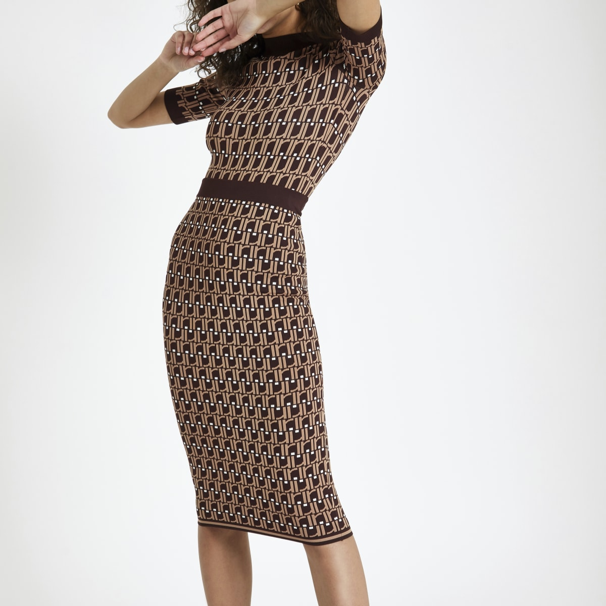 Brown RI monogram midi skirt