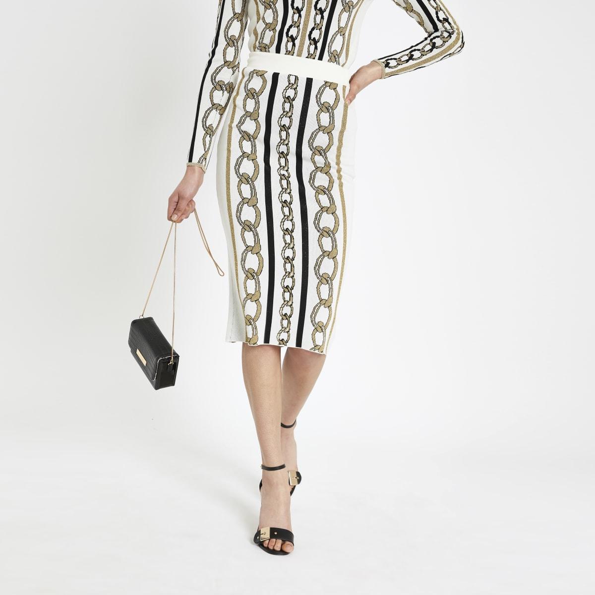 Jupe mi-longue à imprimé chaîne crème