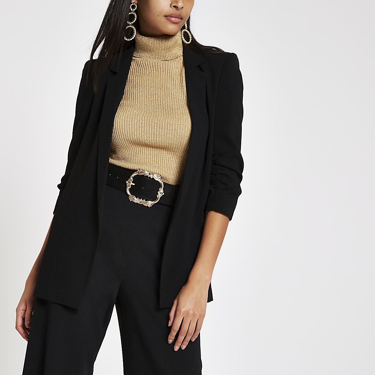 Black ruched button sleeve blazer