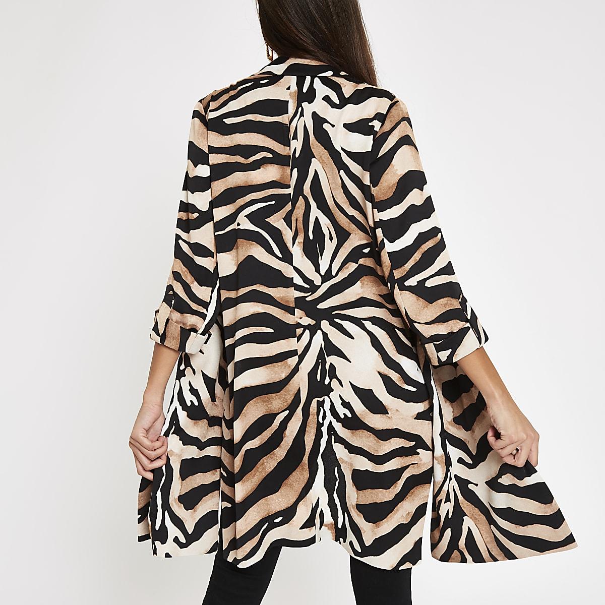 c73db6ab4c3c0 Brown tiger print longline blazer - Blazers - Coats & Jackets - women
