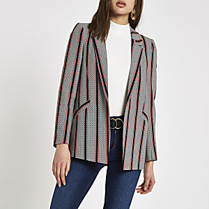Navy stripe print blazer