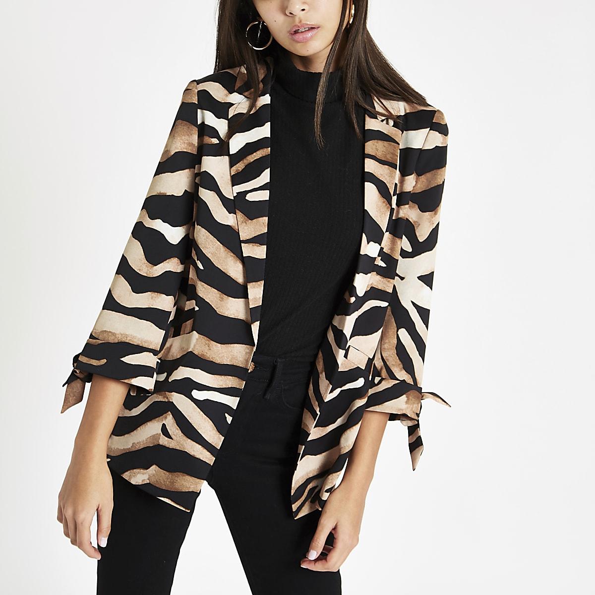 Brown zebra print tie sleeve blazer