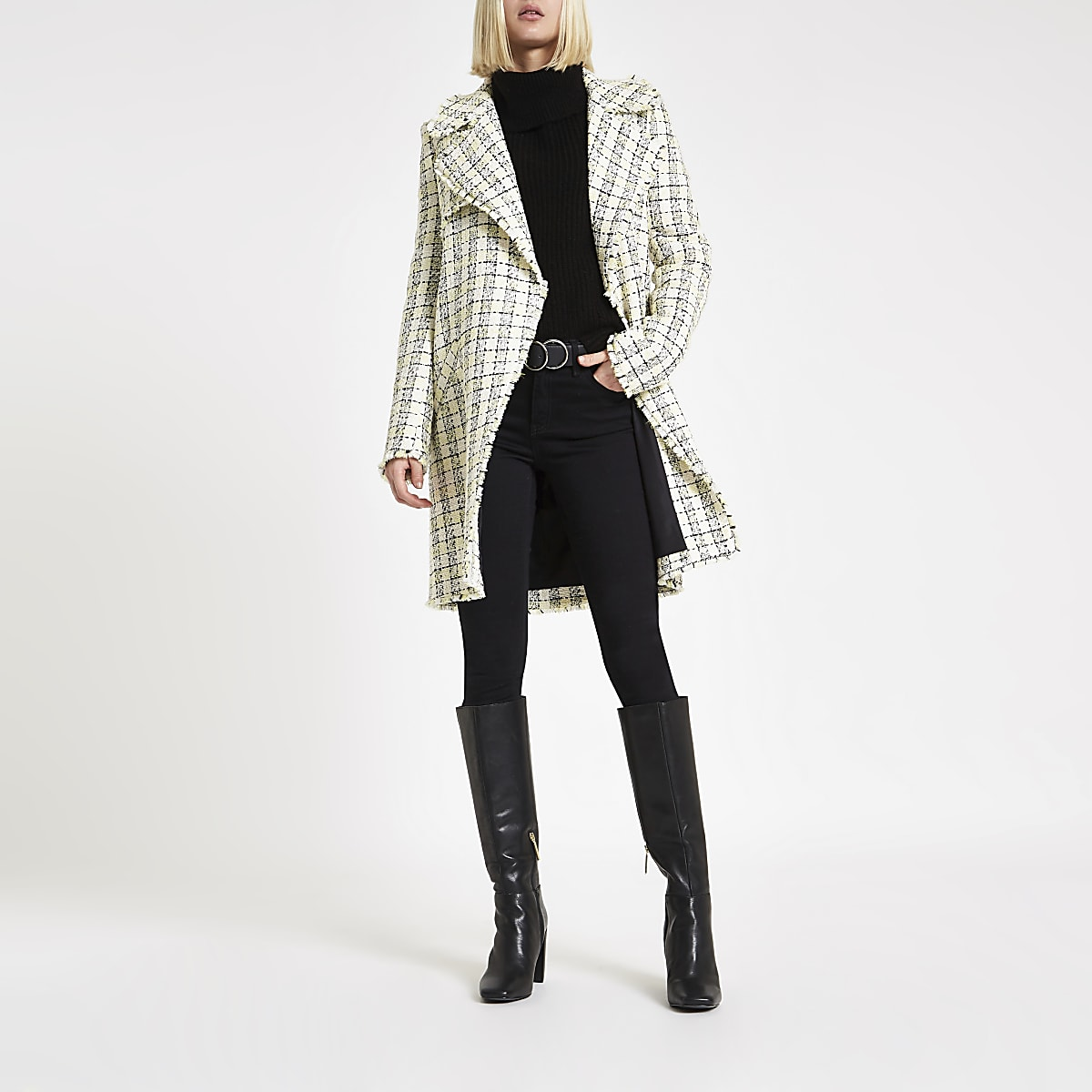 Yellow check boucle long line coat
