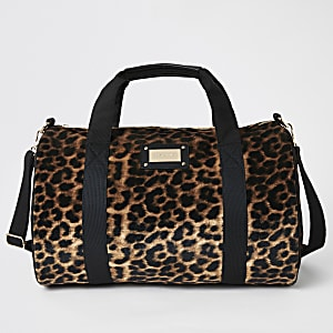 Beige leopard print weekend bag