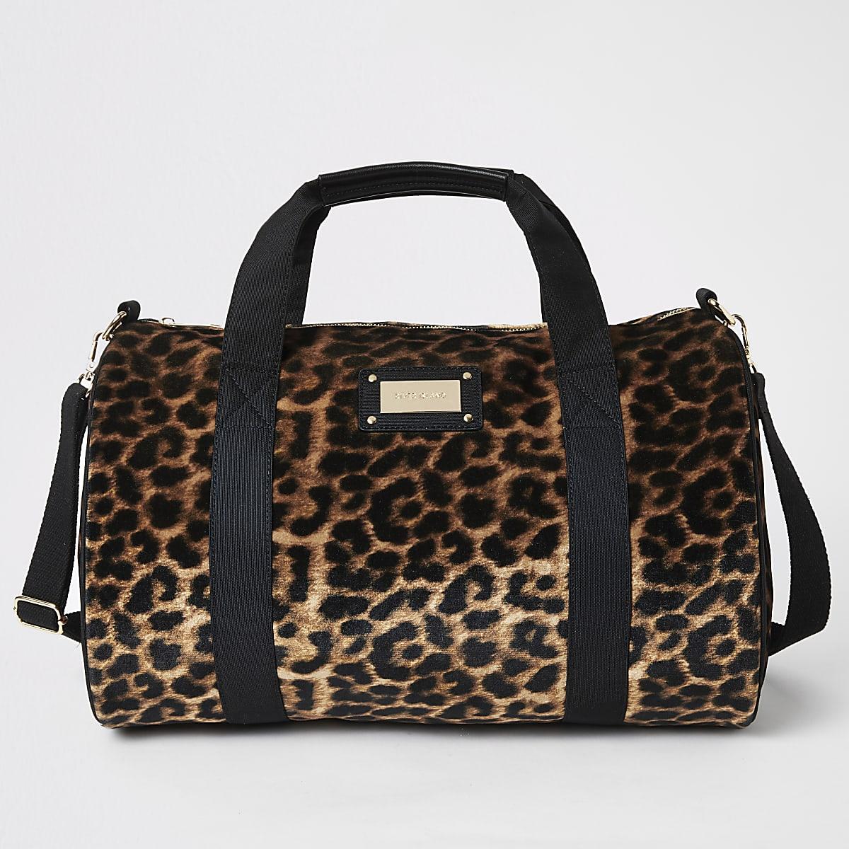 Sac de voyage imprimé léopard beige