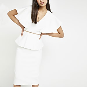 Weißes Bodycon-Kleid mit Schößchen