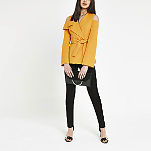 Yellow cold shoulder blazer