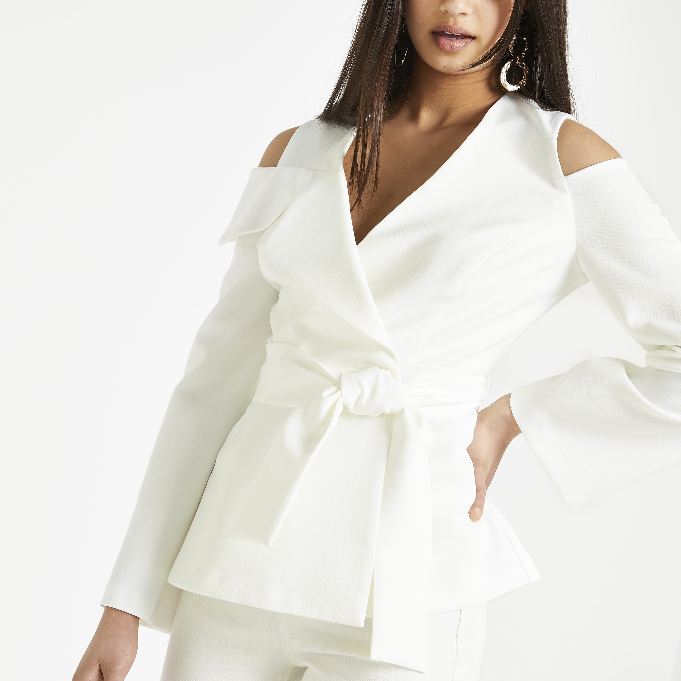 RIVER ISLAND | Womens White Cold Shoulder Blazer | Goxip