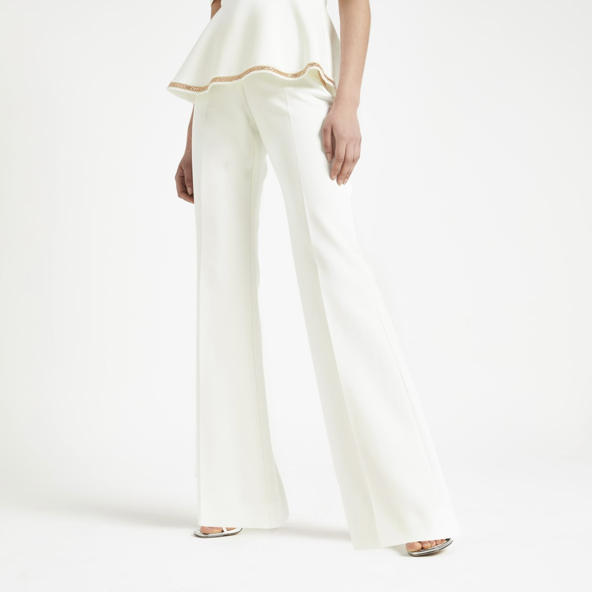 White embellished wide leg trousers