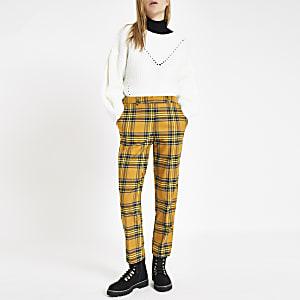 Pantalon droit à carreaux écossais jaune