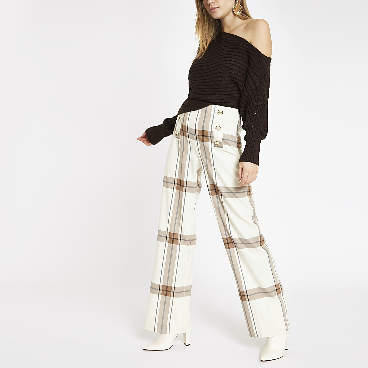 Cream check wide leg pants