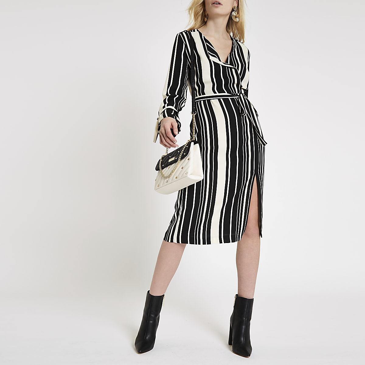 Black stripe tie waist dress