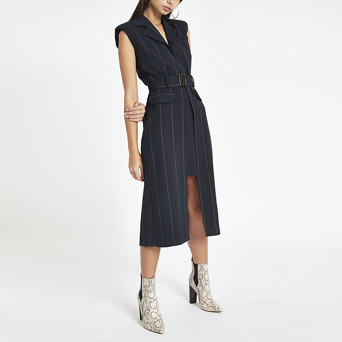 Navy stripe belted midi dress