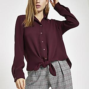 bd044500 Black satin tie front button-up shirt - Shirts - Tops - women