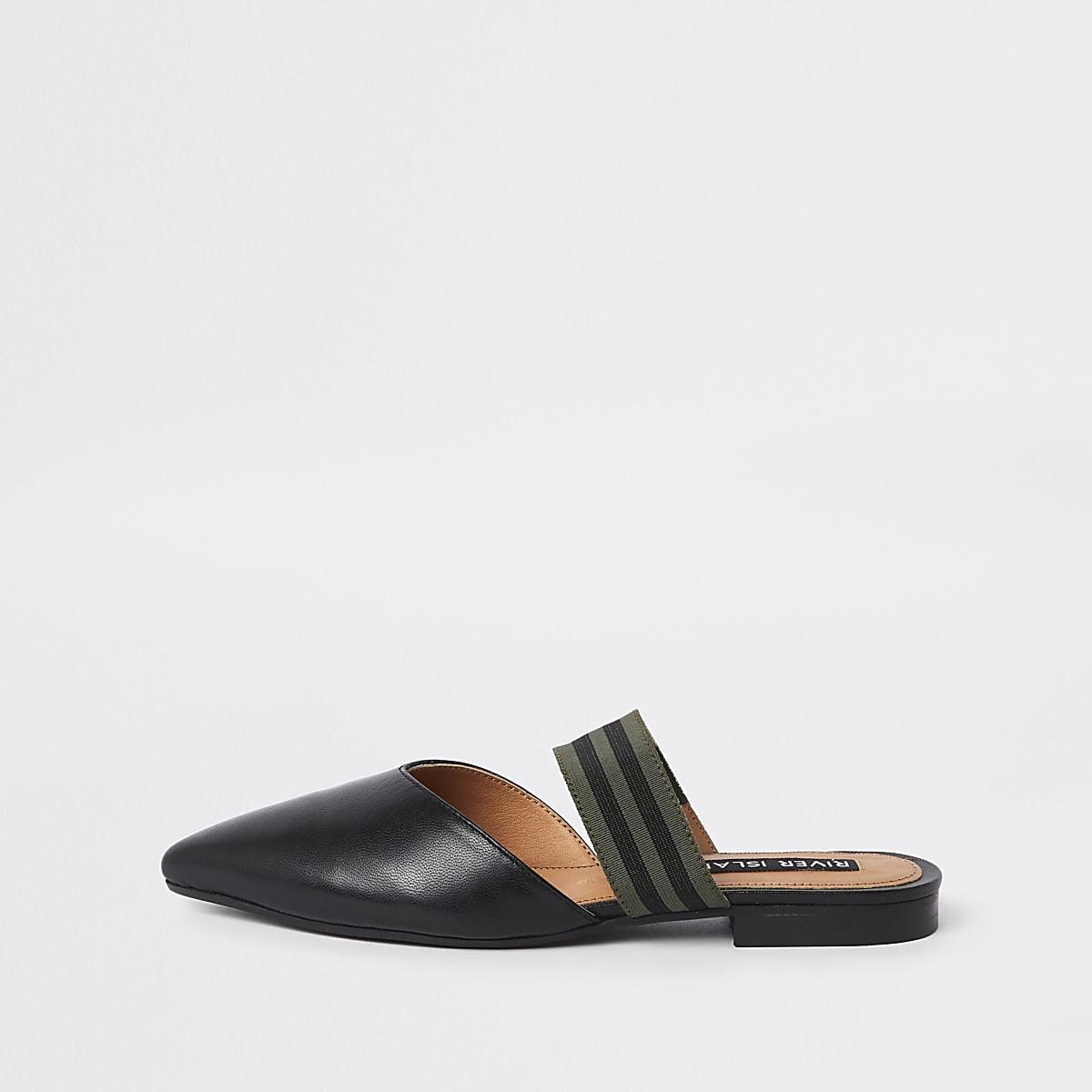 Black leather backless loafer