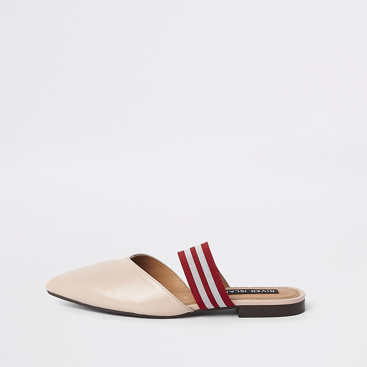 Light pink leather backless loafer
