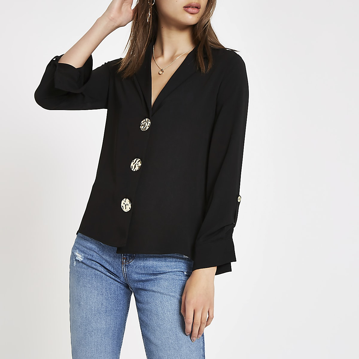 Black button front loose fit shirt