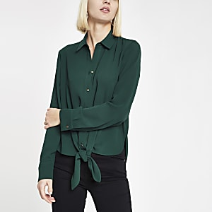 Donkergroen overhemd met strik voor