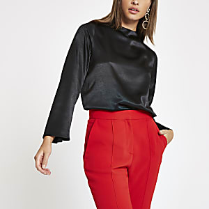 Black satin long sleeve top